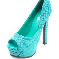 Python Peep Toe Platform Pumps by Charlotte Russe - Teal Green