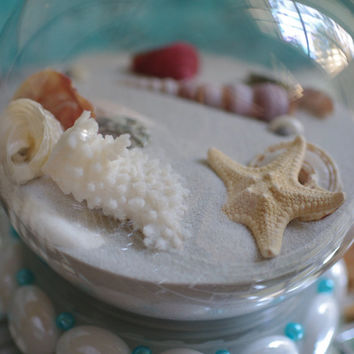 Beach Sand Globe - Snow Globe - Holiday Beach Decor - White Beads with Turquoise Pearls