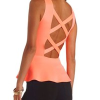 Neon Strappy Back Embellished Peplum Top - Neon Coral