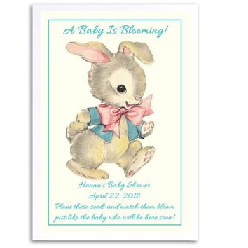 8 Vintage Bunny Baby Shower Seed Favors