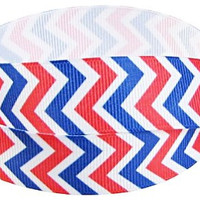 """Grosgrain Ribbon, 7/8"""" Chevron Grosgrain Ribbon--Red, White and Blue, Patriotic, Fourth of July,  sold by the yard, craft supply"""