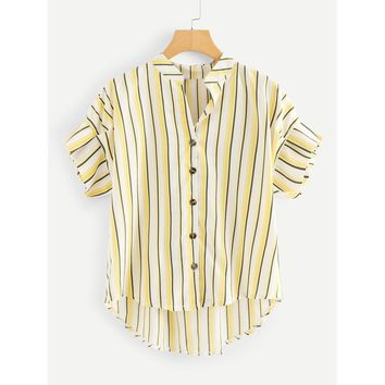 Single Breasted Striped Dip Hem Top