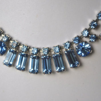 SALE Beautiful Bridal Vintage Baby Blue Baguette Crystal Rhinestone Chevron Choker Necklace & Earrings