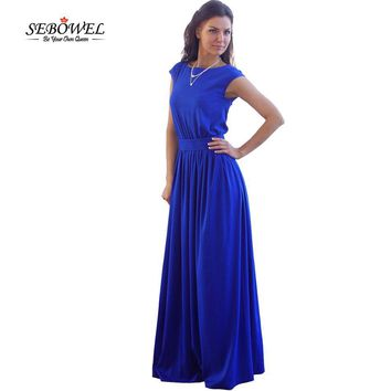 SEBOWEL High Waist Pleated Floor Length Royal Blue Elegant Evening Party Wear Casual Maxi Women Summer Long Dress