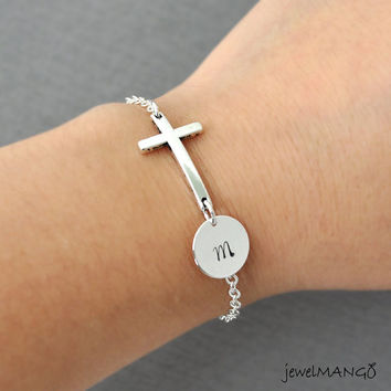 Small Silver Sideways Cross Initial Bracelet, Personalized cross bracelet, personalized initial, friendship, monogram, gift for her,
