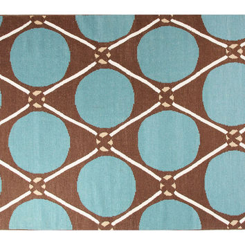 North West Flat-Weave Rug, Blue/Taupe, Area Rugs