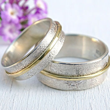silver gold wedding rings, unique wedding bands, matching rings his and hers, promise ring set, viking wedding rings distressed gold