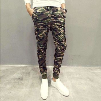 Mens Camouflage Slim Fit Pencil Pants Streetwear Trousers
