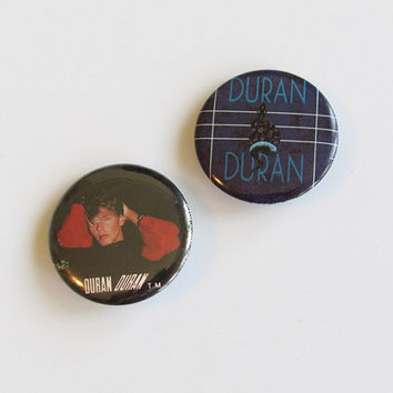 Pair of Vintage 1980s Duran Duran Pins / Pinback Buttons / Music Badge