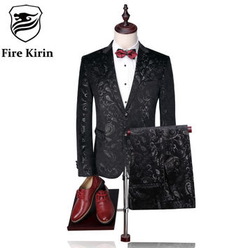Fire Kirin Men Suit 2017 Luxury Tuxedo Wedding Suits For Men Slim Fit Velvet Tuxedo Jacket 4XL Fashion Printed Floral Suit Q302