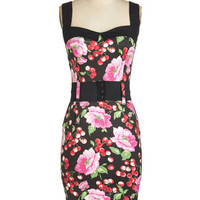 ModCloth Rockabilly Long Sleeveless Cool Vibes Dress in Cherries