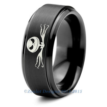 nightmare before christmas jack skellington black bevel tungsten - Nightmare Before Christmas Wedding Rings