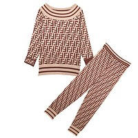 Fendi Autumn And Winter New Fashion More Letter Print Leisure Sports Long Sleeve Top And Pants Two Piece Suit Apricot