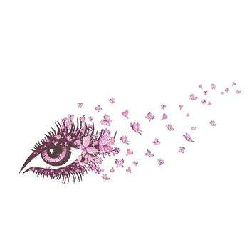 Pink Butterfly Eye Wall Stickers Art Mural Decor Removable Wall Sticker Background