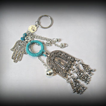 Bohemian key chain,turquoise key ring,boho key ring,gypsy key ring,hamsa key chain,long key ring