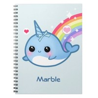 Cute baby narwhal with rainbow - Personalized