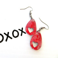 Red Heart Sparkly dangle Red heart earrings teardrop