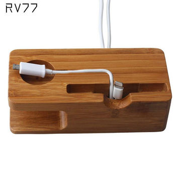 2016 new RV77 for i Watch/iPhone Charging Holder Stand, Natural Bamboo Wood Charge Station Charging Dock Cradle Stand Holders