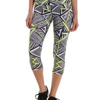 Black Combo Geometric Print Active Capri Leggings by Charlotte Russe