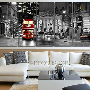 Large Wall Art London City Night Skyline and Red Bus Canvas Printing MC02
