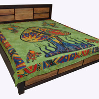 Indian Cotton Double Size Bed Sheet Green Color Mushroom Print Bedspread Flat Sheet Throw BD33