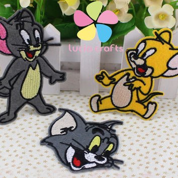 7-9cm 6*7.8cm 6.8*7.6cm The Cat And Mouse Patch Iron-on or Sew-on Embroidered Applique Cartoon Embroidery 6pcs lot D20010003