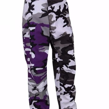 Rothco Color Two-Tone Camo BDU Pants - Purple / City Camo