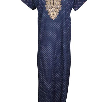 Blue Printed Cotton Nightwear Caftan Short Sleeves Button Front Sleepwear Evening Maxi Kaftan Dress L
