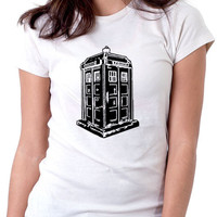 Ladies Doctor Who T-Shirt White - TARDIS Police Box