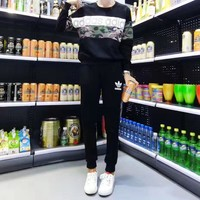 """Adidas"" Women Sport Casual Camouflage Letter Print Long Sleeve Sweater Trousers Set Two-Piece Sportswear"
