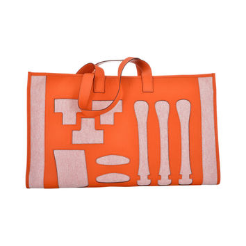 2455c081abc3 LIMITED EDITION HERMES PETIT H SKELETON TOILE   LEATHER TOTE BAG JaneFinds