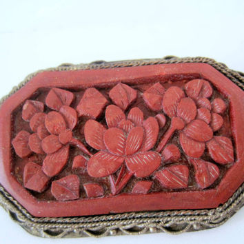 Vintage China Cinnabar Carved Brooch