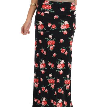 Lyss Loo Casablanca Fold Over Black Floral Maxi Skirt