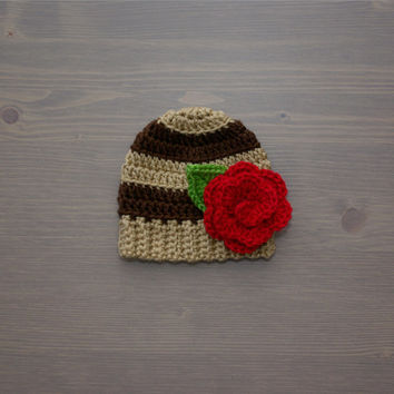 Brown Striped Crochet Baby Beanie with Flower, Crochet Baby Hat, Crocheted Baby Hat, Crochet Baby Girl, Newborn Photo Prop, Baby Shower Gift