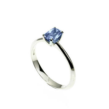 Emerald cut light blue sapphire ring, engagement ring, blue sapphire ring, white gold, yellow gold, unique, blue, wedding ring, solitaire