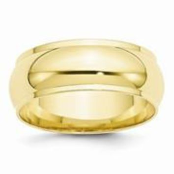 10k Yellow Gold 8mm Half Round with Edge Wedding Band Ring
