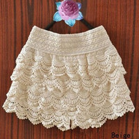 Lace Hollow Out Bottom Skirt  [7571662918]