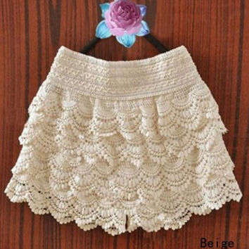 Lace Hollow Out Bottom Skirt  [6259186116]