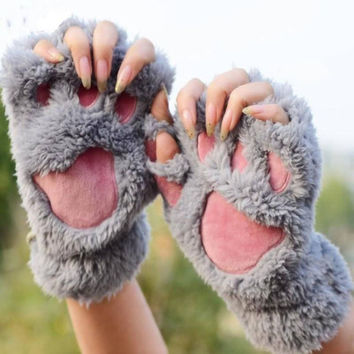 Soft Warm Winter Women Paw Gloves Fingerless Fluffy Bear Cat