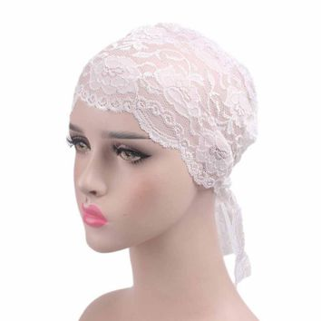 New Lace Bandanas Women Indian Stretchable Headband Thin Chemo Hat Lady Beanie Scarf Turban Head Wrap Cap Hijab Head Wear JY302