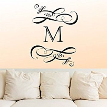 Wall Decal Vinyl Sticker Decals Art Decor Design Monogram Personalized Custom Name Family Wedding Gift Headboard Pattern Dorm Bedroom(r758)