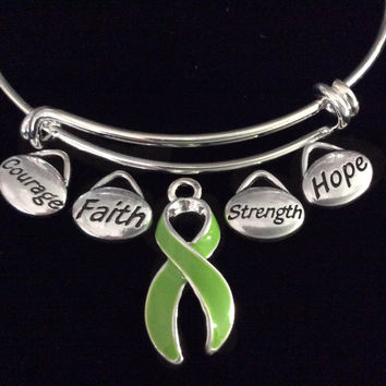 Green Awareness Ribbon Expandable Charm Bracelet Adjustable Bangle Gift Lyme Disease Cerebral Palsy Kidney Cancer