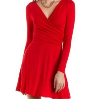 Long Sleeve Wrap Skater Dress by Charlotte Russe - Red