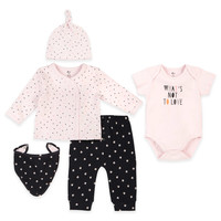 "Petit Lem™ ""What's Not to Love"" Top, Pant, Bodysuit, Hat, and Bib Set in Pink/Grey"