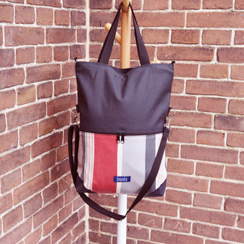 Large fold over canvas tote bag shopping bag casual fold over tote vegan school bag dark gray and upcycled striped book bag variable