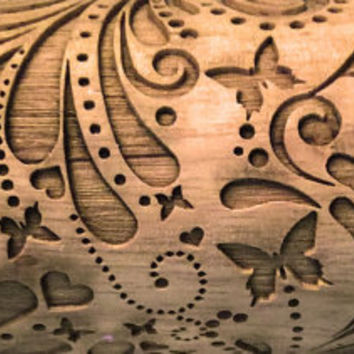 Butterfly Heart Flourish,Engraved rolling-pin Embossed Rolling Pin Custom Rolling pin, Gift for Her, Solid Maple Made in the USA