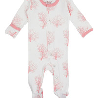 L'OVEDBABY Organic Coral Sea Fan Gloved Sleeve Overall
