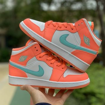 [Free Shipping ]Nike Air Jordan 1 Mid GS Youth Crimson Pulse Light Aqua White 555112 814 Basketball Shoes