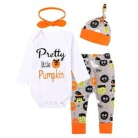 2017 Halloween Long Sleeve 3Pcs Baby Set Infant Baby Boys Girls Tops Romper Pants Hat Outfits Autumn Unisex Baby Clothes