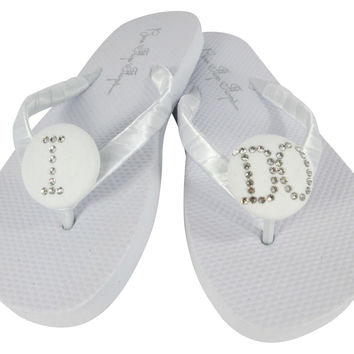 Swarovski crystal I DO Wedding Flip Flops
